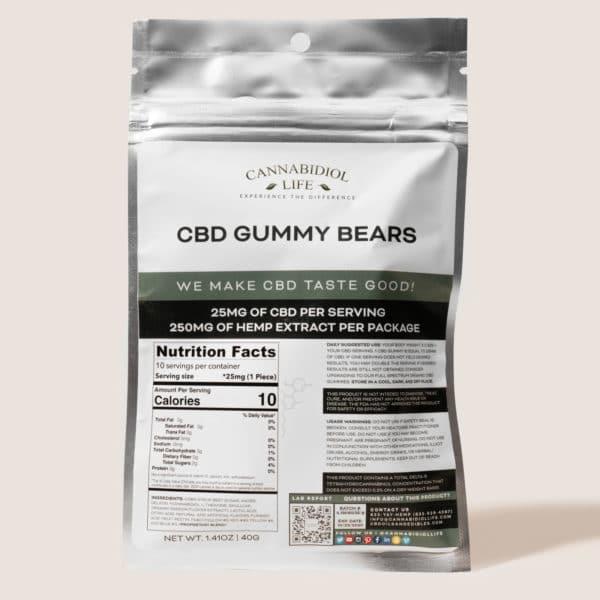 Cannabidiol Life Cbd Gummy Bears - 250Mg Of Hemp Extract Per Package - 25Mg Per Serving
