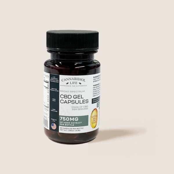 Cannabidiol Life Broad Cbd Gel Capsules - 750Mg Of Hemp Extract Per Bottle - 25Mg Of Cbd Per Serving