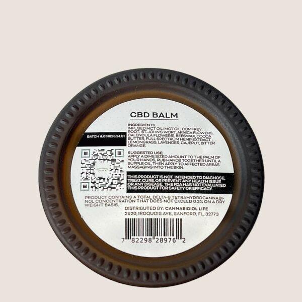 Cbd Balm Product Label