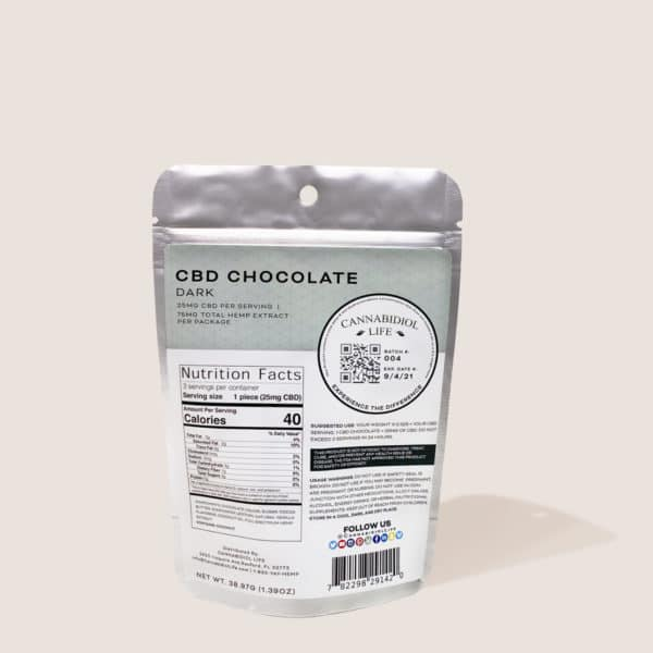 Cannabidiol Life Cbd Dark Chocolate - 75Mg Total Hemp Extract Per Package - 25Mg Cbd Per Serving