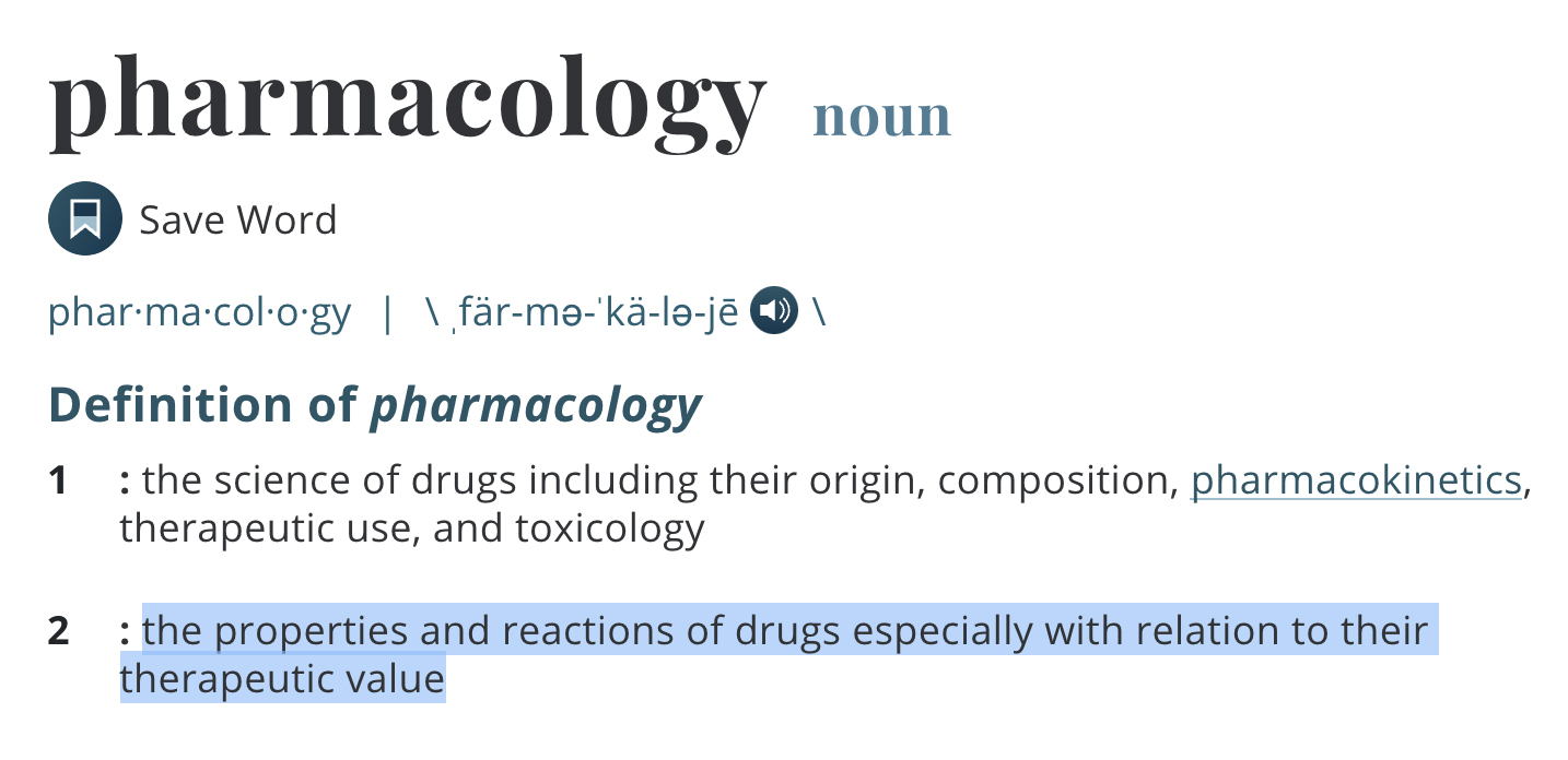 Pharmacology definition to help explain the CBD topical test results.