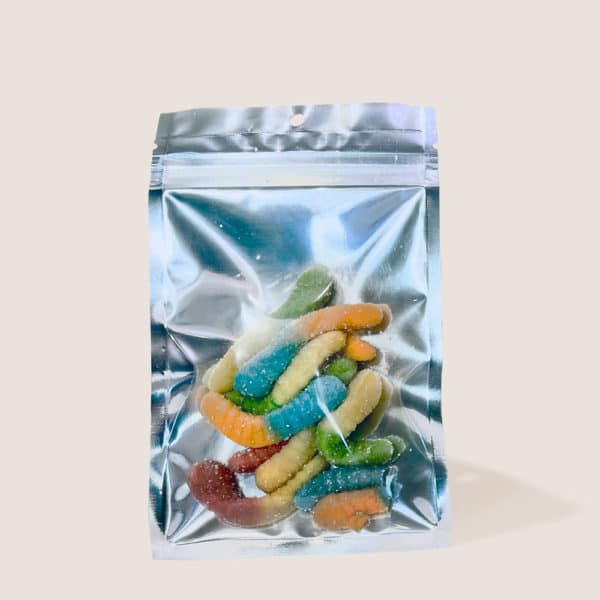 Back View Of Cannabidiol Life'S Hemp Extracted Cbd Gummy Worms