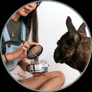Woman Feeding Her Dog Cannabidiol Life Cbd Dog Treats