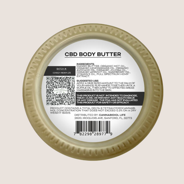 Cbd Body Butter Fda Approved Product Label