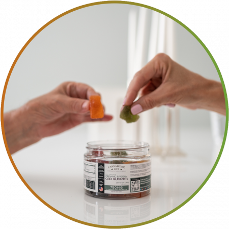 Two pairs of hands holding and sharing full-spectrum organic CBD gummies.